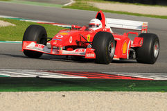 MUGELLO, IT, 2013年11月:未知数遇到与法拉利F1在Finali Mondiali法拉利期间2013年mugello电路在意大利 免版税库存图片