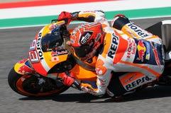 Mugello - ΙΤΑΛΙΑ, στις 21 Μαΐου - 2016: Ισπανικός αναβάτης Marc Marquez της Honda σε 2016 TIM GP Ιταλία MotoGP της Ιταλίας στο κύ Στοκ Εικόνες