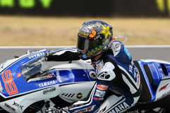 MUGELLO κύκλωμα - 13 Ιουλίου: Jorge Lorenzo της ομάδας Yamaha κατά τη διάρκεια της όντας κατάλληλης συνόδου των Grand Prix MotoGP Στοκ Φωτογραφία