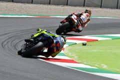 MUGELLO - ИТАЛИЯ, ИЮНЬ: Всадник Valentino Rossi команды Yamaha Movistar итальянки на GP 2018 Италии MotoGP в июне 2018 стоковая фотография
