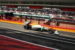 MUGELLO, ИТАЛИЯ - МАЙ 2012: Jules Bianchi команды Индии F1 силы участвует в гонке во время дней испытания команд Формула-1 на цеп стоковые фотографии rf