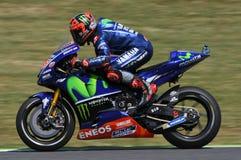MUGELLO -意大利, 6月3日:西班牙人山叶在合格的车手持异议者Vinales意大利的2017年MotoGP奥克利GP期间Muge的 免版税库存图片
