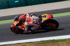 Mugello -意大利, 6月2日:西班牙人本田车手2017年意大利MotoGP的奥克利GP的Marc Marquez Mugello电路的2017年6月2日 免版税库存照片