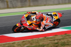 Mugello -意大利, 6月2日:西班牙人本田车手2017年意大利MotoGP的奥克利GP的Marc Marquez Mugello电路的2017年6月2日 库存照片