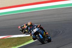 Mugello -意大利, 6月2日:西班牙人本田Marc VDS车手在2017年意大利MotoGP的奥克利GP期间的铁托拉巴特Mugello电路的 免版税图库摄影