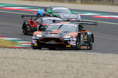 Mugello Circuit, Italy - July 17, 2016:ASTON MARTIN VANTAGE GT3 - SUPER GT3  driven by F. Sini and M. Mugelli, Campionato Italiano Royalty Free Stock Photos