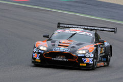Mugello Circuit, Italy - July 17, 2016:ASTON MARTIN VANTAGE GT3 - SUPER GT3  driven by F. Sini and M. Mugelli, Campionato Italiano Royalty Free Stock Photography