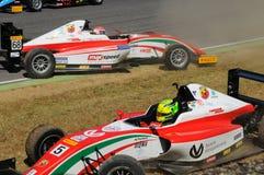 Mugello Circuit, Italy 19 July 2016: Schumacher of Prema Powerteam e Juan Manuel Correa have an incident. During Formula 4 Race at Mugello Circuit. Italy stock images