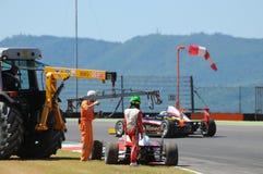 Mugello Circuit, Italy 19 July 2016: Schumacher of Prema Powerteam e Juan Manuel Correa have an incident. During Formula 4 Race at Mugello Circuit. Italy stock photography