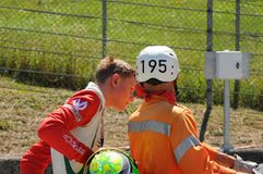 Mugello Circuit, Italy 19 July 2016: Schumacher of Prema Powerteam e Juan Manuel Correa have an incident. During Formula 4 Race at Mugello Circuit. Italy royalty free stock photos
