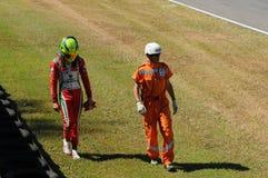 Mugello Circuit, Italy 19 July 2016: Schumacher of Prema Powerteam e Juan Manuel Correa have an incident. During Formula 4 Race at Mugello Circuit. Italy royalty free stock images