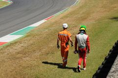 Mugello Circuit, Italy 19 July 2016: Schumacher of Prema Powerteam e Juan Manuel Correa have an incident. During Formula 4 Race at Mugello Circuit. Italy stock image