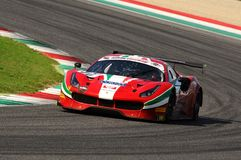 Mugello Circuit, Italy - 6 October, 2017: A Ferrari 488 of Scuderia AF CORSE driven by Ishikawa Motoaki. The final round of C.I. Gran Turismo Super GT3-GT3 in Royalty Free Stock Image