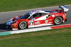 Mugello Circuit, Italy - 7 October, 2017: Ferrari 488 of Scuderia BAL driven by CHEEVER III Edward - MALUCELLI Matteo. Winners of Race #1 of the final round of Royalty Free Stock Photo