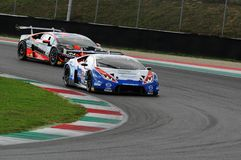 Mugello Circuit, Italy - 6 October, 2017: Lamborghini Huracan of OMBRA Srl Team driven by BERETTA Michele - FRASSINETI Alex. During the final round of C.I. Gran Stock Images