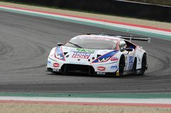 Mugello Circuit, Italy - 6 October, 2017: Lamborghini Huracan of OMBRA Srl Team  driven by CASSARA` Marco - GENTILI Roberto. Mugello Circuit, Italy - 6 October Royalty Free Stock Photo