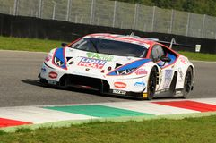 Mugello Circuit, Italy - 6 October, 2017: Lamborghini Huracan of OMBRA Srl Team  driven by CASSARA` Marco - GENTILI Roberto. Mugello Circuit, Italy - 6 October Royalty Free Stock Image