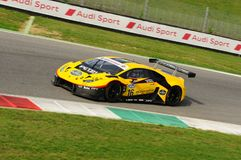 Mugello Circuit, Italy - 6 October, 2017: Lamborghini Huracan of Petri Corse Motorsport Team driven by Baruch Bar - Mapelli Marco Royalty Free Stock Photo