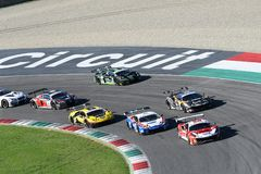 Mugello Circuit, Italy - 7 October, 2017: Start Race #1 Final Round of C.I. Gran Turismo Super GT3-GT3 Royalty Free Stock Photo