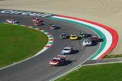 Mugello Circuit, Italy - 7 October, 2017: Start Race #1 Final Round of C.I. Gran Turismo Super GT3-GT3 royalty free stock images