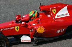 MUGELLO, HET, MEI 2017: onbekende looppas met Ferrari F1 tijdens Ferrari die Dagen 2017 rennen in de mugellokring royalty-vrije stock foto
