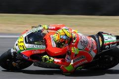 MUGELLO - ITÁLIA, O 13 DE JULHO: Cavaleiro Valentino Rossi de Ducati do italiano durante GP 2012 de TIM MotoGP de Itália o 13 de  Fotografia de Stock