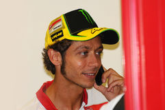 MUGELLO - ITÁLIA, O 13 DE JULHO: Cavaleiro Valentino Rossi de Ducati do italiano durante GP 2012 de TIM MotoGP de Itália o 13 de  Fotografia de Stock Royalty Free