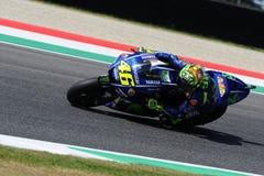 MUGELLO - ITALIË, 2 JUNI: Italiaanse Yamaha-ruiter Valentino Rossi bij 2017 MotoGP GP van Italië op 2 Juni, 2017 Royalty-vrije Stock Foto's