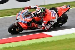 MUGELLO - ITALIË, 1 JUNI 2018: Spaanse Ducati-Teamruiter Jorge Lorenzo tijdens Praktijk bij 2018 GP van Italië van MotoGP op Juni Stock Afbeeldingen
