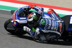 MUGELLO - ITALIË, 21 MEI: De Spaanse Yamaha-ruiter Jorge Lorenzo wint 2016 TIM MotoGP van Italië bij Mugello-kring Stock Fotografie
