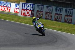 MUGELLO - ITALIË, 29-30 MEI: Italiaanse Yamaha-ruiter Valentino Rossi bij 2015 TIM MotoGP van Italië bij Mugello-kring Royalty-vrije Stock Afbeelding