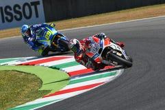 MUGELLO - ITALIA, EL 3 DE JUNIO: Jinete Andrea Dovizioso Win de Ducati del italiano el GP 2017 de OAKLEY MotoGP de Italia el 3 de Imagen de archivo libre de regalías