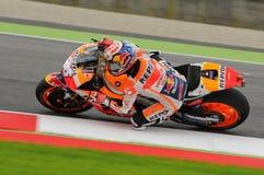 MUGELLO - ITALIA, EL 21 DE MAYO: Jinete Dani Pedrosa de Honda del español en TIM 2016 MotoGP de Italia en el circuito de Mugello Foto de archivo libre de regalías