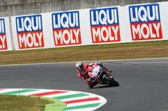 MUGELLO - ITALIA, IL 3 GIUGNO: Cavaliere Andrea Dovizioso Win di Ducati dell'italiano il GP di 2017 OAKLEY MotoGP dell'Italia il  Fotografia Stock Libera da Diritti