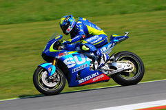 MUGELLO - ITALIA, MAY 29: Spanish Suzuki rider Aleix Espargaro at 2015 TIM MotoGP of Italy at Mugello. Royalty Free Stock Photos