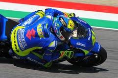 MUGELLO - ITALIA, MAY 29: Spanish Suzuki rider Aleix Espargaro at 2015 TIM MotoGP of Italy at Mugello. Royalty Free Stock Photo