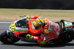 MUGELLO - ITALIEN, AM 13. JULI: Italiener Ducati-Reiter Valentino Rossi während TIM MotoGP GP 2012 von Italien am 13. Juli 2012 Stockfotografie