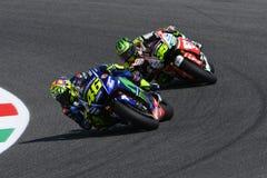 MUGELLO - ITALIEN, JUNI 3: ItalienareYamaha ryttare Valentino Rossi på MotoGP GP 2017 av Italien på Juni 2, 2017 Royaltyfri Foto
