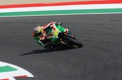 Mugello - ITALIEN, am 3. Juni: ³ Spanisch Aprilia-Reiter Aleix Espargarà bei 2017 OAKLEY GP von Italien von MotoGP Mugello am 3.  lizenzfreies stockbild