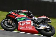 Mugello - ITALIEN, 2 JUNI: Spanska Aprilia som springer Team Gresini Rider Aleix Espargaro under kvalificeringperiod på GP 2018 a fotografering för bildbyråer