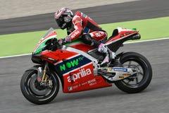 Mugello - ITALIEN, 2 JUNI: Spanska Aprilia som springer Team Gresini Rider Aleix Espargaro under kvalificeringperiod på GP 2018 a arkivfoto