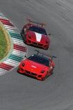 MUGELLO ITALIEN -, MAY 2017: Okända kör Ferrari 599XX under Ferrari tävlings- dagar på den Mugello strömkretsen Royaltyfri Foto