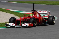 MUGELLO, ITALY 2012: Felipe Massa of Ferrari F1 team racing at Formula One Teams Test Days at Mugello Circuit stock photos