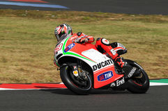 MUGELLO - ITALY, JULY 13: US Ducati rider Nicky Hayden at 2012 TIM MotoGP of Italy at Mugello circuit on July 13, 2012 Royalty Free Stock Images
