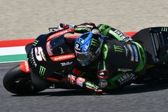 MUGELLO - ITALY, 2 JUNE: French Yamaha Tech 3 Team Rider Johann Zarco during Qualifying session at 2018 GP of Italy of MotoGP. On June, 2018. Italy Royalty Free Stock Photo