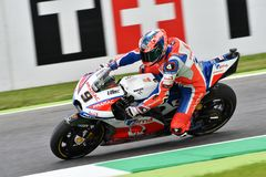Mugello - ITALY, 2 JUNE: Italian Ducati Alma Pramac Team Rider Danilo Petrucci during Qualifying session at 2018 GP of Italy. Of MotoGP on June, 2018. Italy Stock Photography