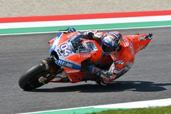 MUGELLO - ITALY, JUNE: Italian Ducati Team rider Andrea Dovizioso during Qualifying session  at 2018 GP of Italy of MotoGP on June. 2018. Italy Royalty Free Stock Image