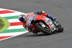MUGELLO - ITALY, 2 JUNE: Italian Ducati Team rider Andrea Dovizioso during Qualifying session  at 2018 GP of Italy of MotoGP on Ju. Ne, 2018. Italy Royalty Free Stock Images
