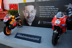 Mugello - Italy, June 1: Show of all Nicky Hayden`s MotoGP and SBK Bikes in the Paddock during GP of Italy on June 1, 2017. Stock Photography