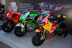 Mugello - Italy, June 1: Show of all Nicky Hayden`s MotoGP and SBK Bikes in the Paddock during GP of Italy on June 1, 2017. Stock Photos
